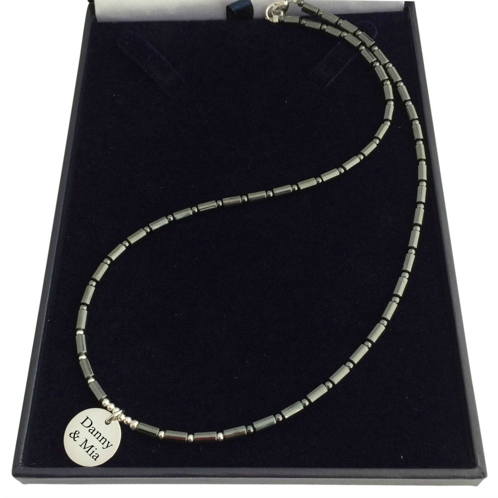 engraved necklace for man or boy silver amp hematite